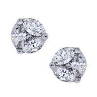14k White gold Marquise and Round Brilliant Diamond Studs ...