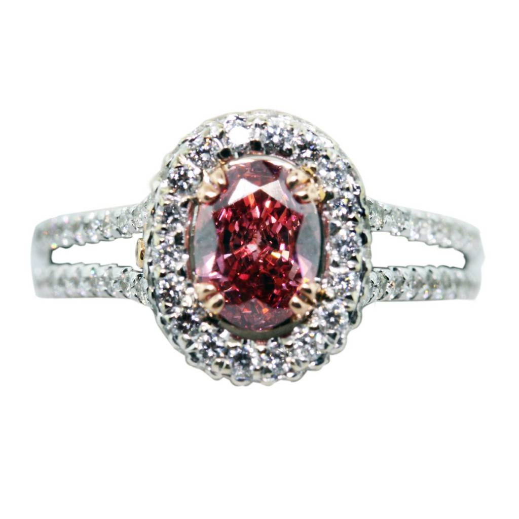 0 73ct oval pink diamond ring 18k white gold with gls certificate pink diamond wedding band 0 73ct Pink Oval Diamond Engagement Ring