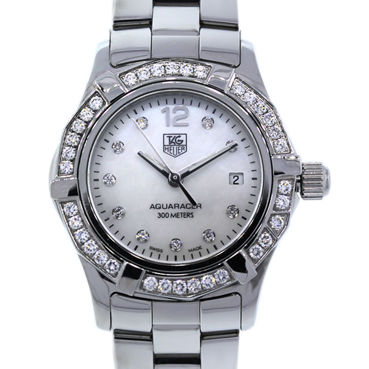 Diamond Watch Tag Heuer Aquaracer Waf1416 Diamond Stainless Steel Watch
