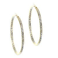 14k Yellow Gold Diamond In-Out Hoop Earrings-Boca Raton