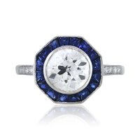 Platinum Octagonal Art Deco Diamond and Sapphire ...