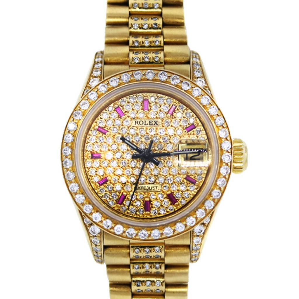 Diamond Watch Rolex 69178 President All Diamond And Ruby Ladies Gold Watch