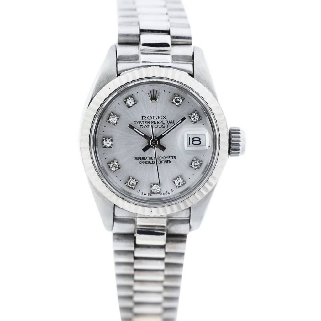 Stainless Rolex Vintage Rolex Datejust 6917 Stainless Steel Diamond Dial Watch
