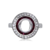 Platinum Vintage Style Ruby and Diamond Engagement Ring ...