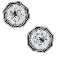 Vintage Old European Cut Diamond Stud Earrings-Boca Raton