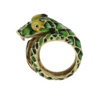 14kt Yellow Gold Enamel Dragon Ring