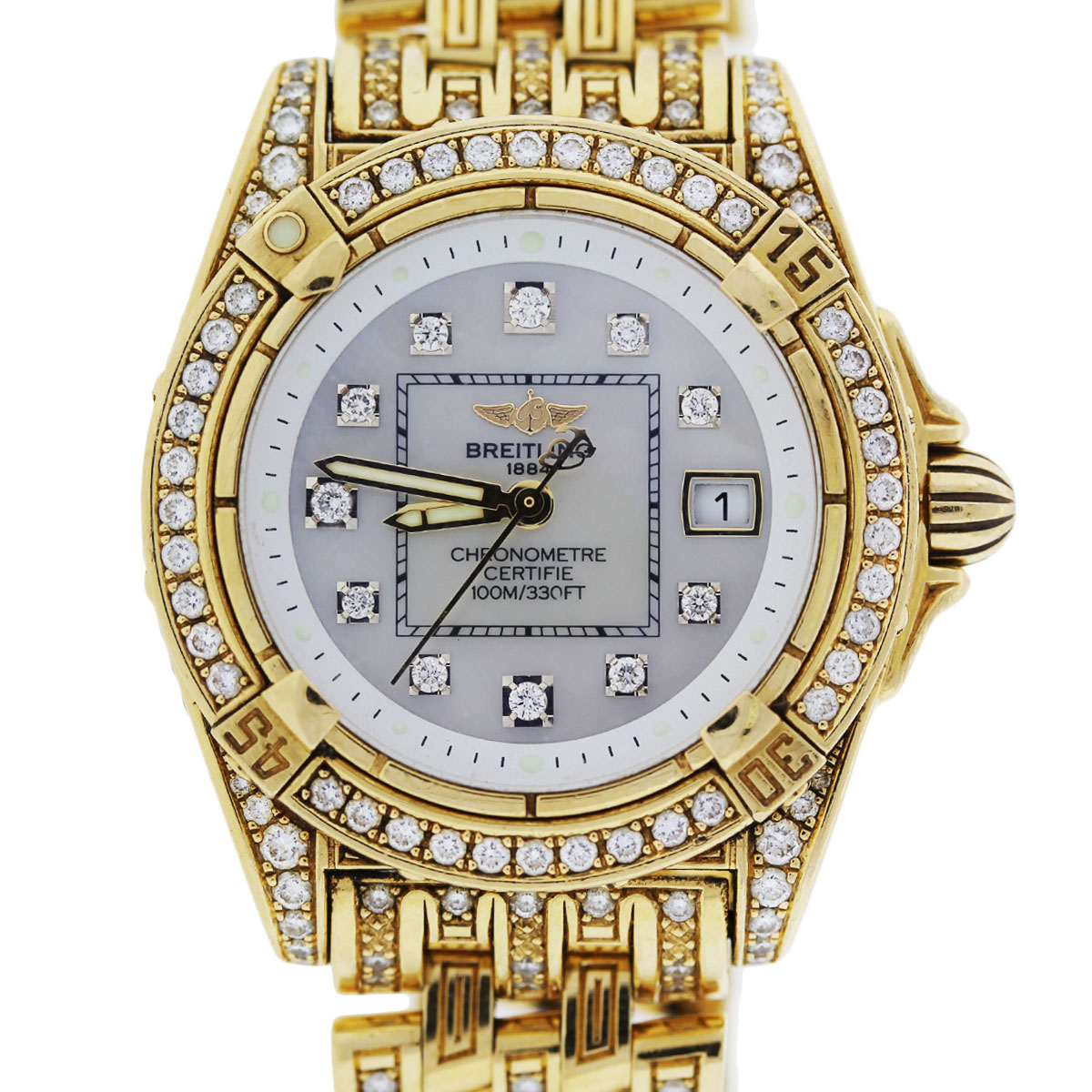 Diamond Watch Breitling 18k Yellow Gold Lady Cockpit Diamond Watch K7135663