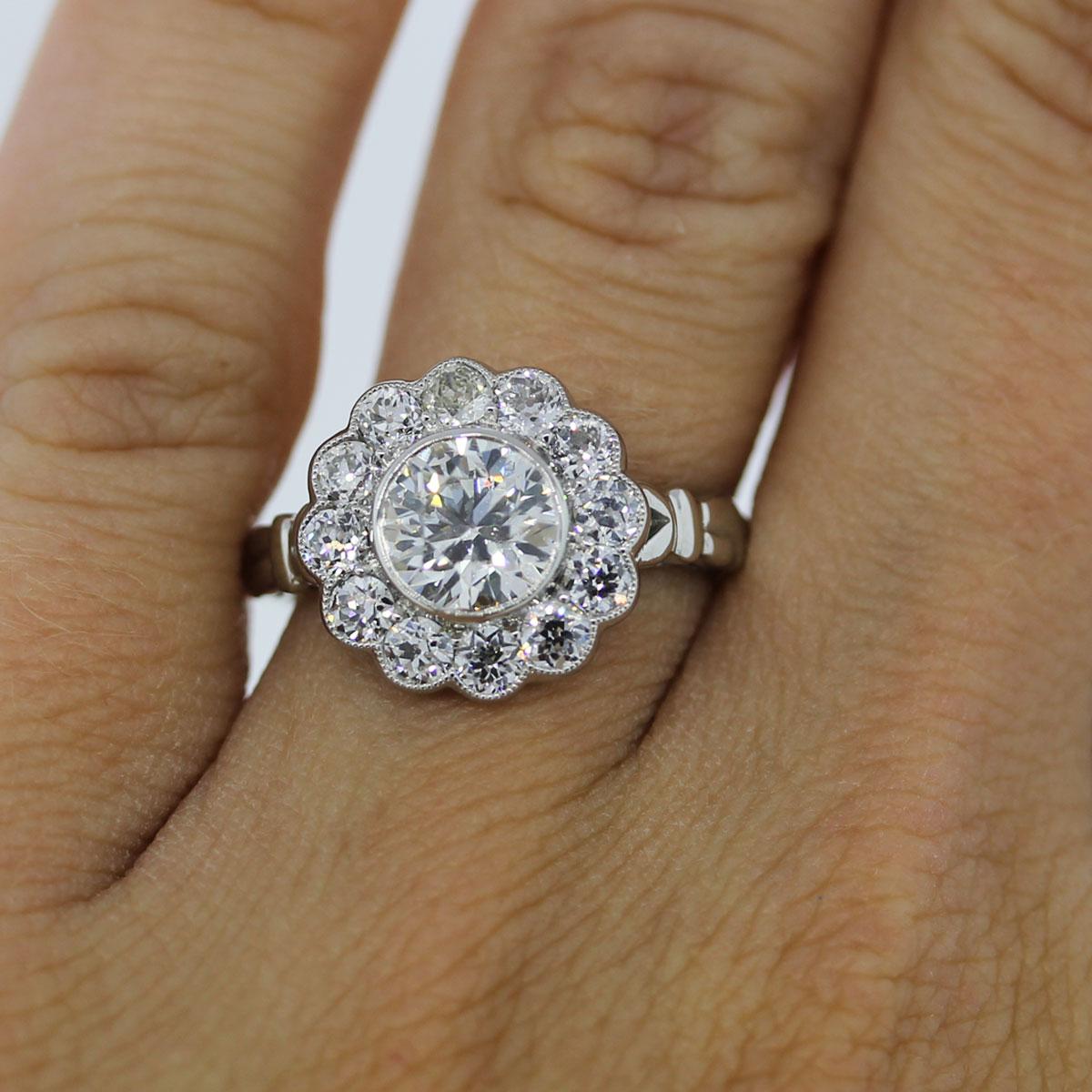 platinum 1 15ct old european cut diamond flower engagement ring flower wedding ring