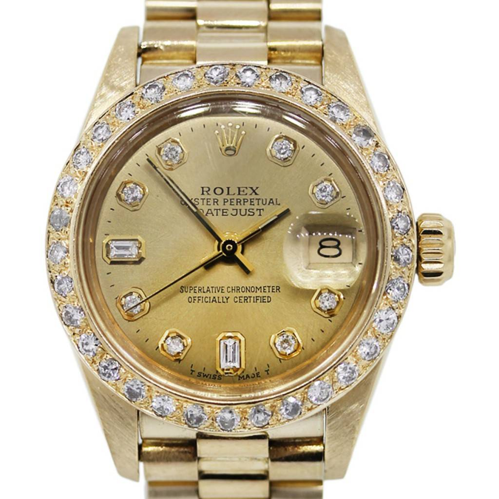 Diamond Watch 18k Gold Rolex 6927 Ladies Datejust Presidential Diamond Watch