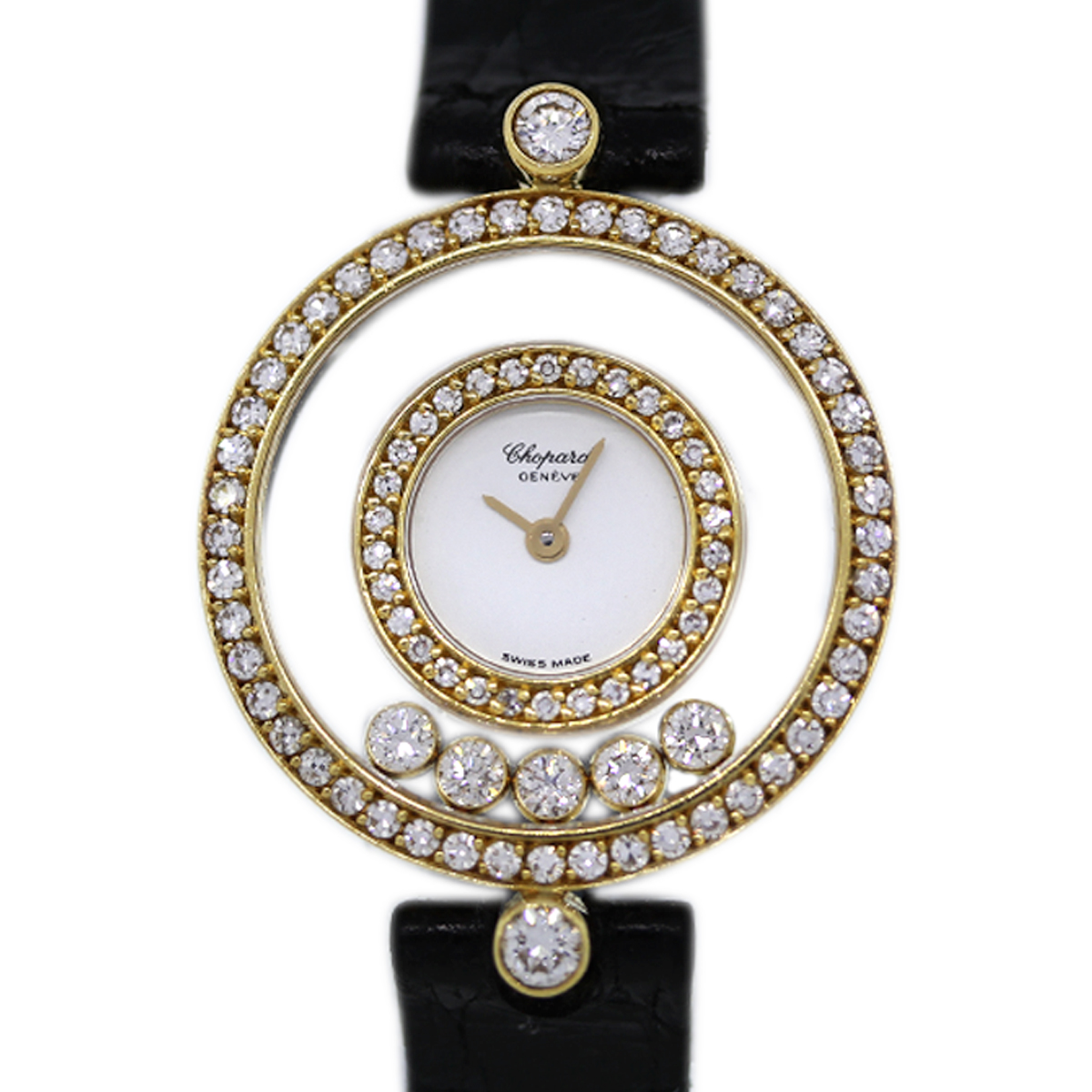 Diamond Watch Chopard Happy Diamonds 20 3957 Yellow Gold Ladies Watch