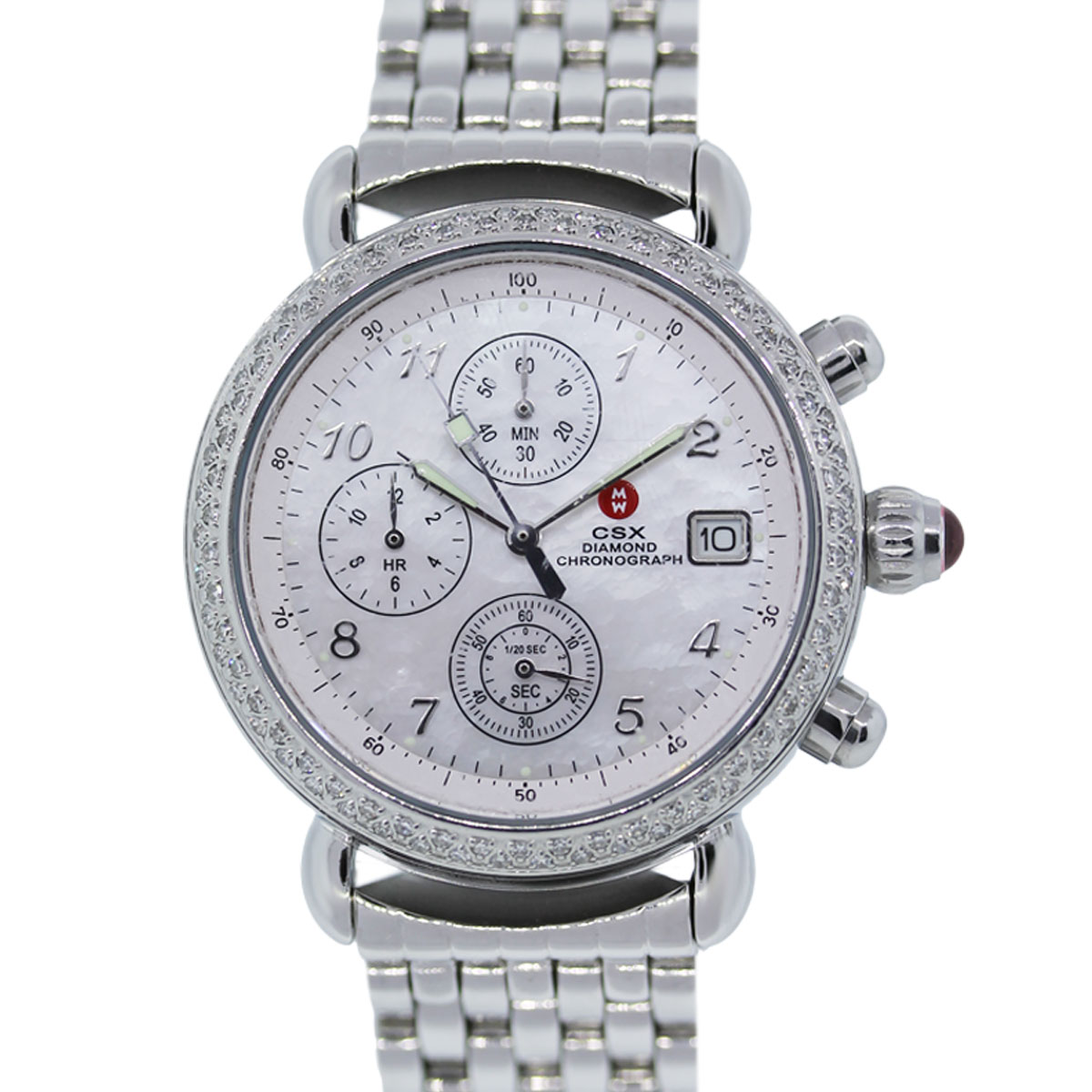 Diamond Watch Michele Csx Diamond Chronograph Mother Of Pearl Dial