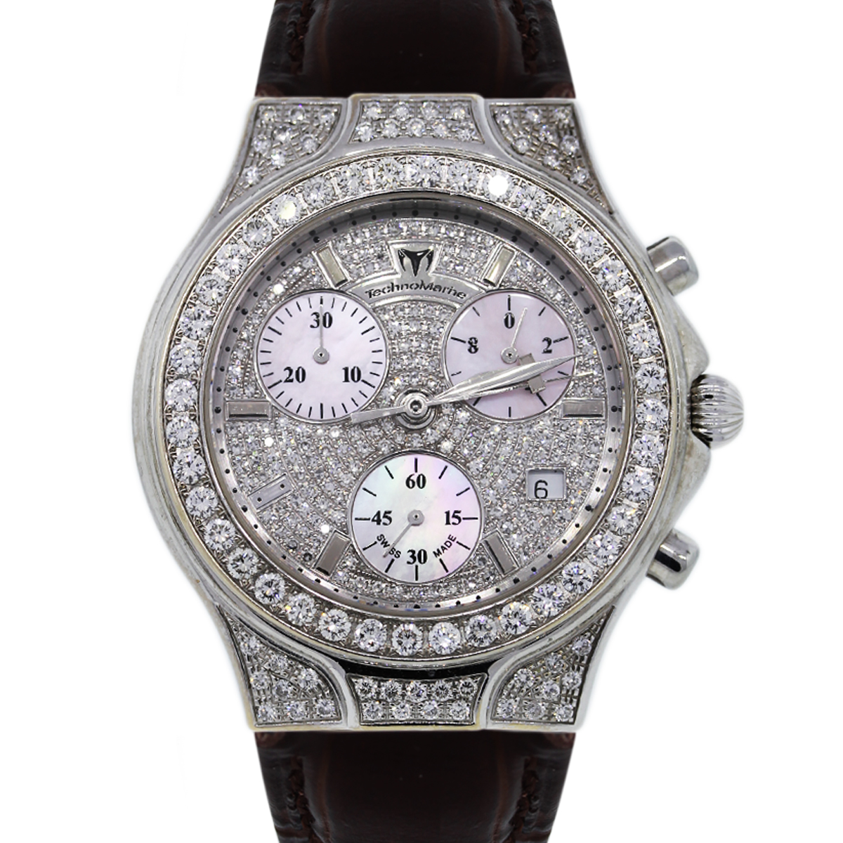 Diamond Watch Technomarine Diva No 0042 All Diamond Watch On Leather Strap