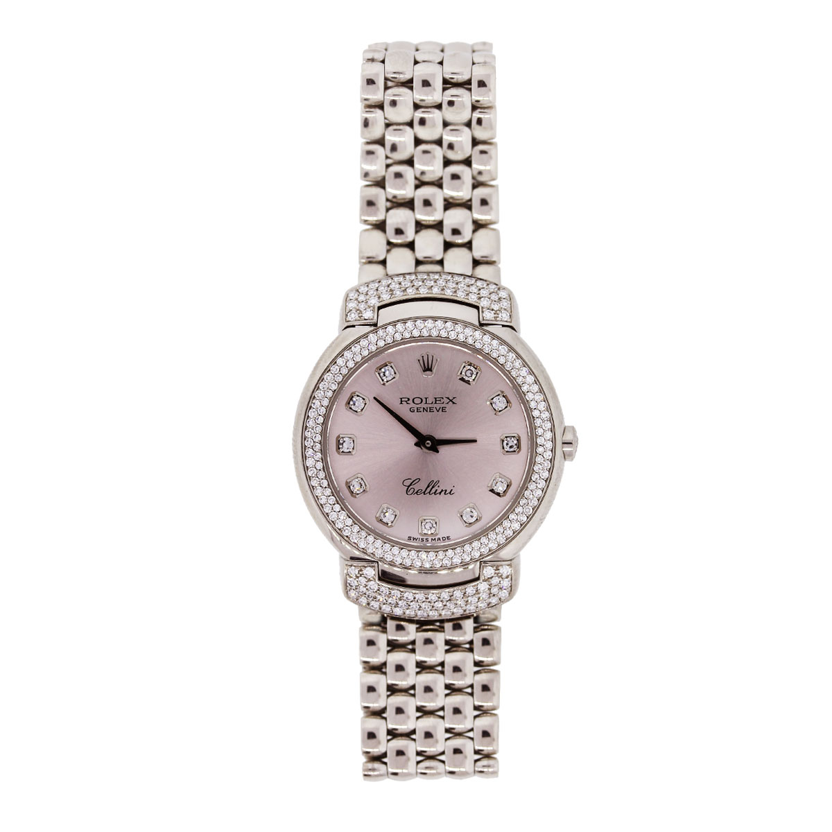 Diamond Watch Rolex Cellini 6673 White Gold Pink Diamond Dial Diamond