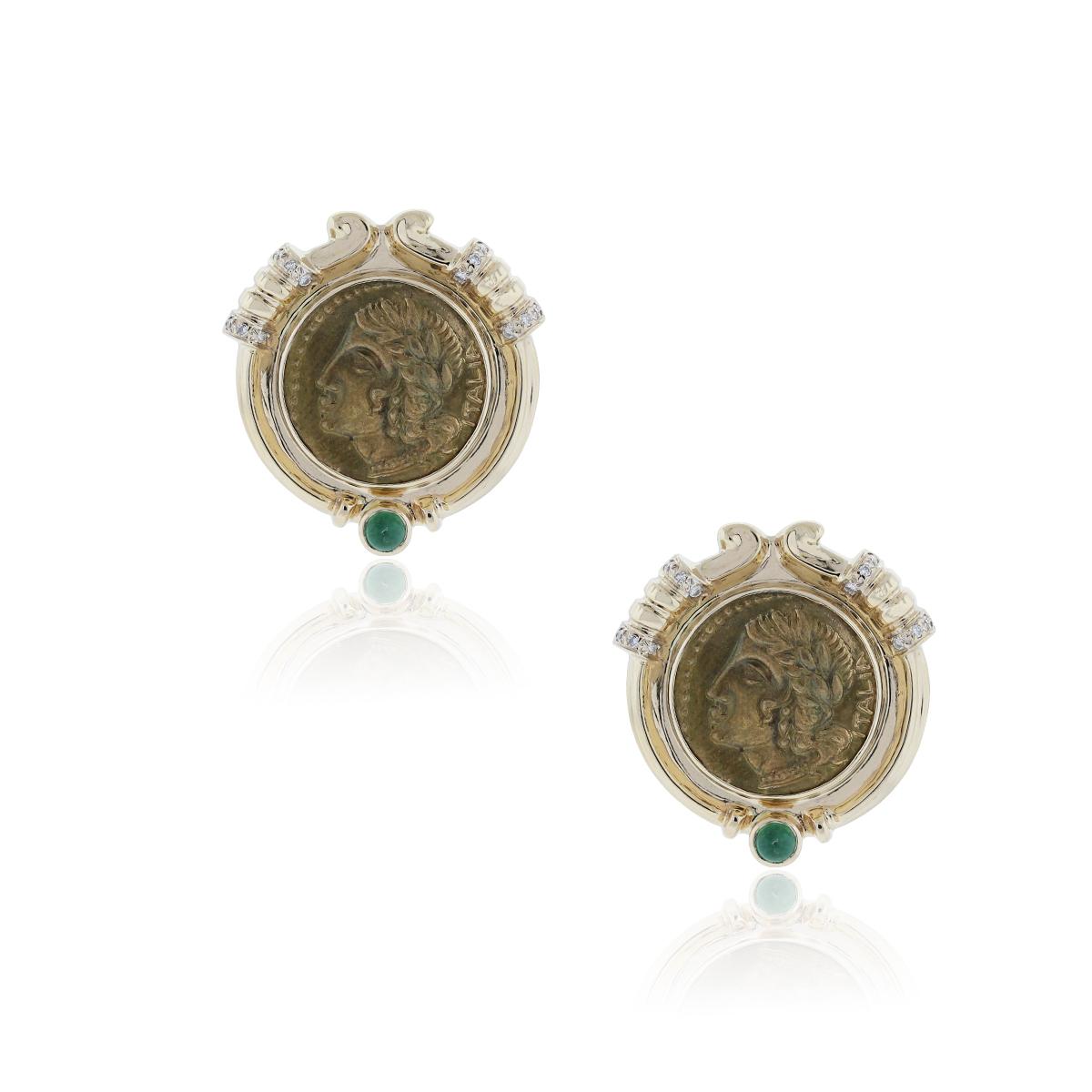 14K Yellow Gold Diamond and Emerald Italian Coin Earrings