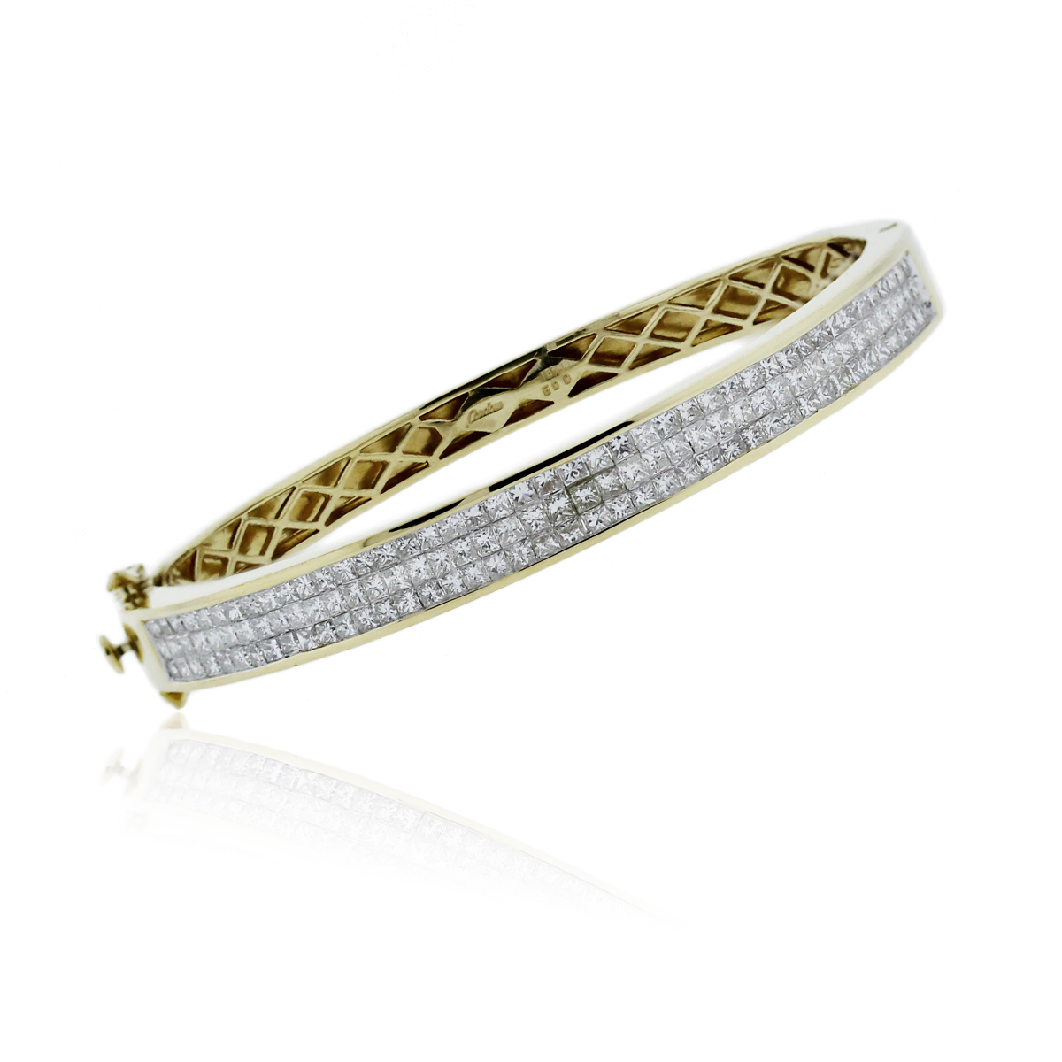 18k Yellow Gold Invisible Set Diamond 5ctw Bangle Bracelet