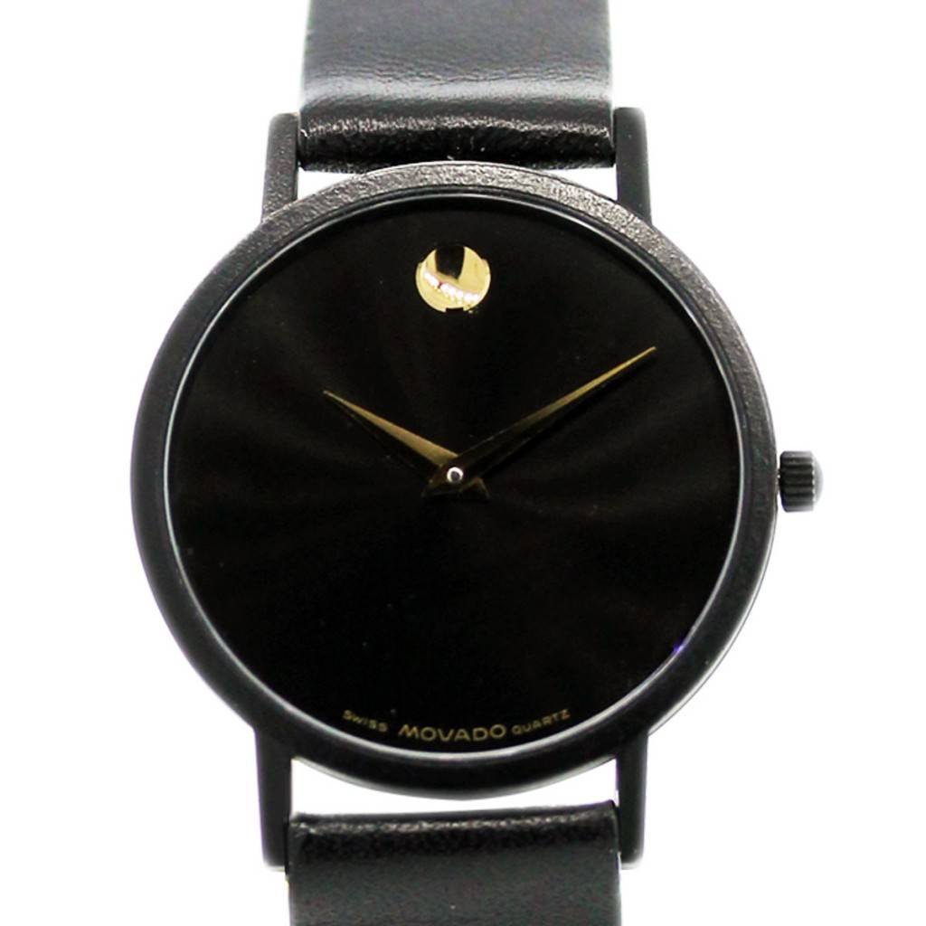 Movado Museum Movado Museum Watch On Black Leather Strap