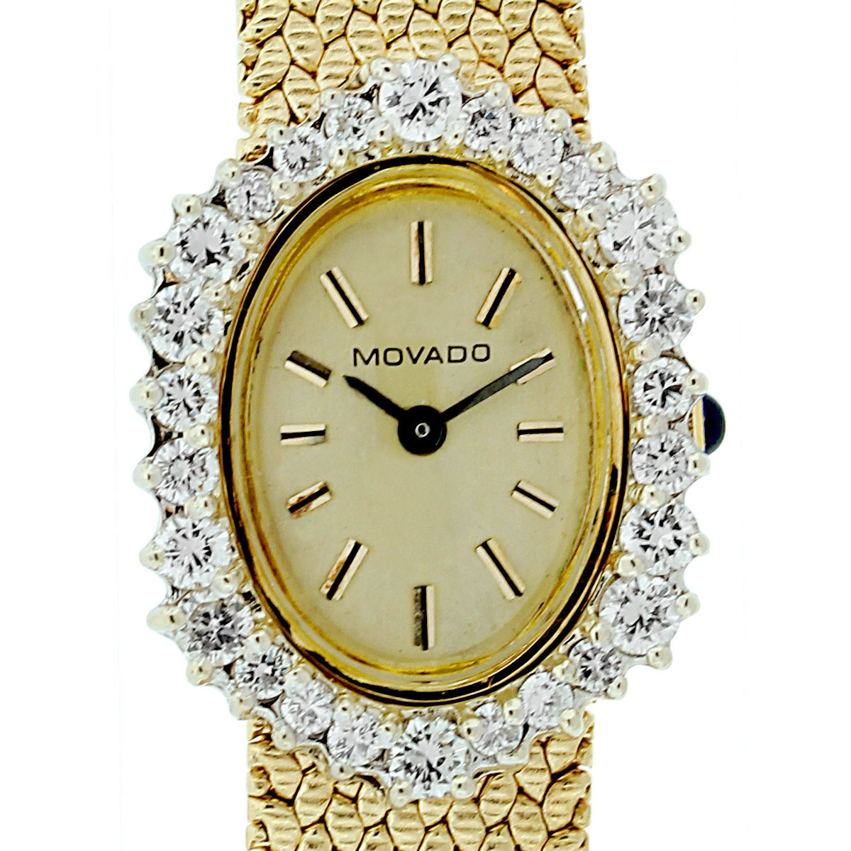 Diamond Watch Movado Yellow Gold Diamond Bezel Vintage Ladies Watch