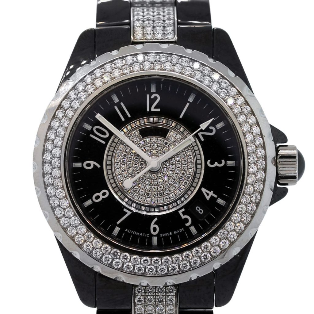 Diamond Watch Chanel J12 Black Ceramic Diamond Watch