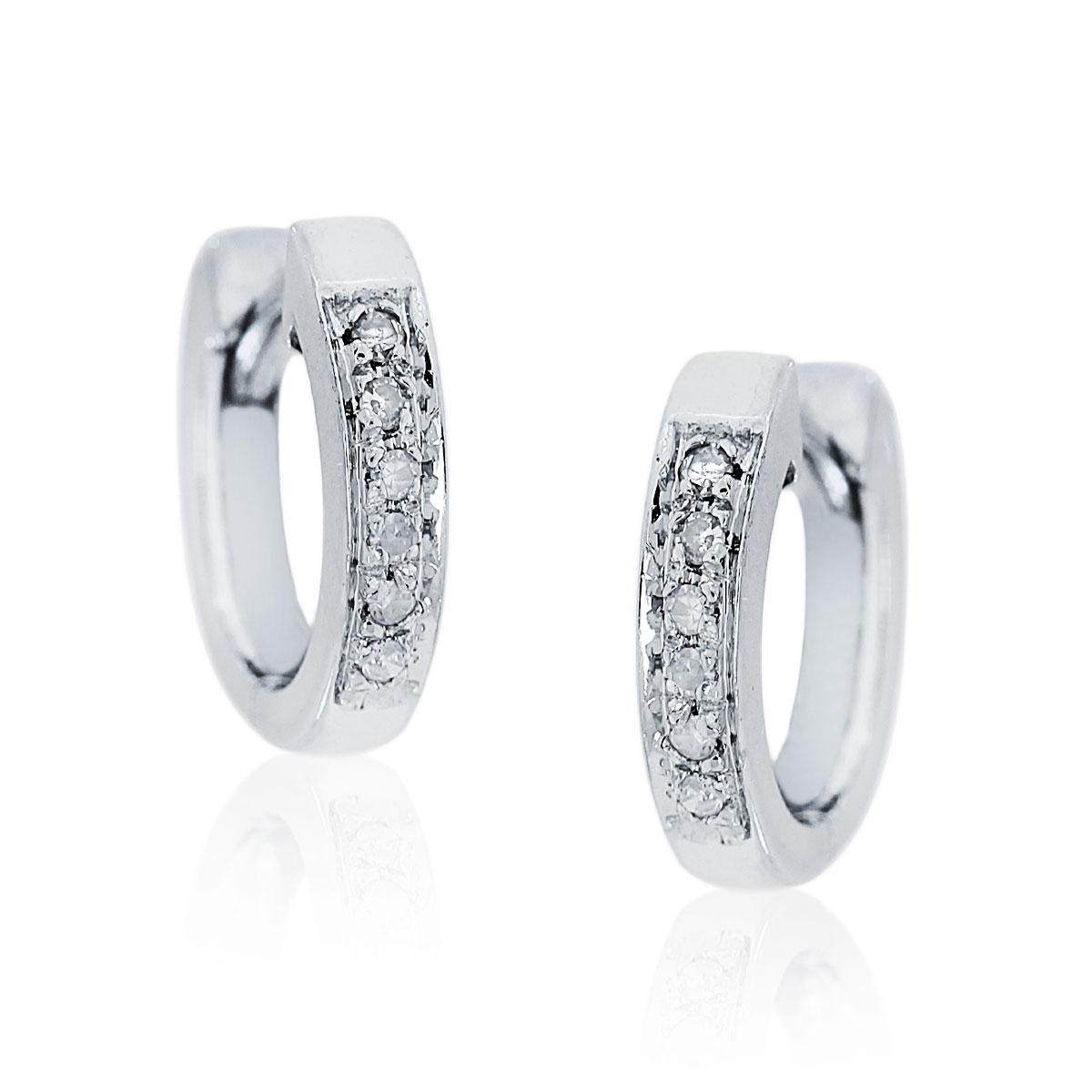 14K White Gold .06ctw Diamond Huggie Earrings