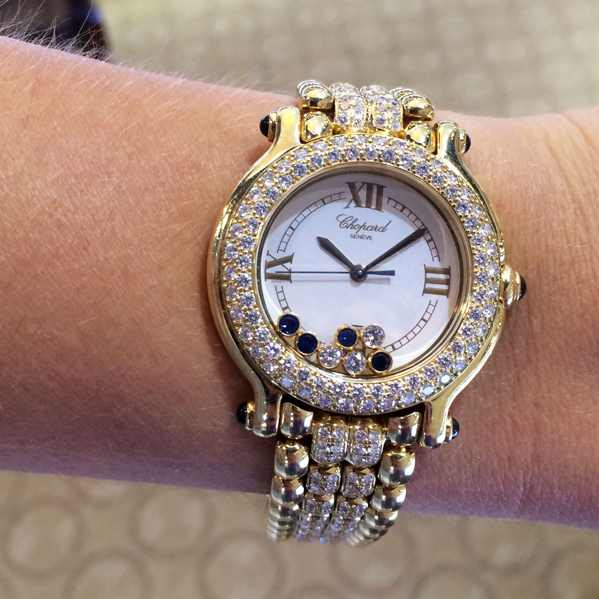 Diamond Watch Chopard Happy Sport Gold Diamond And Sapphire Watch