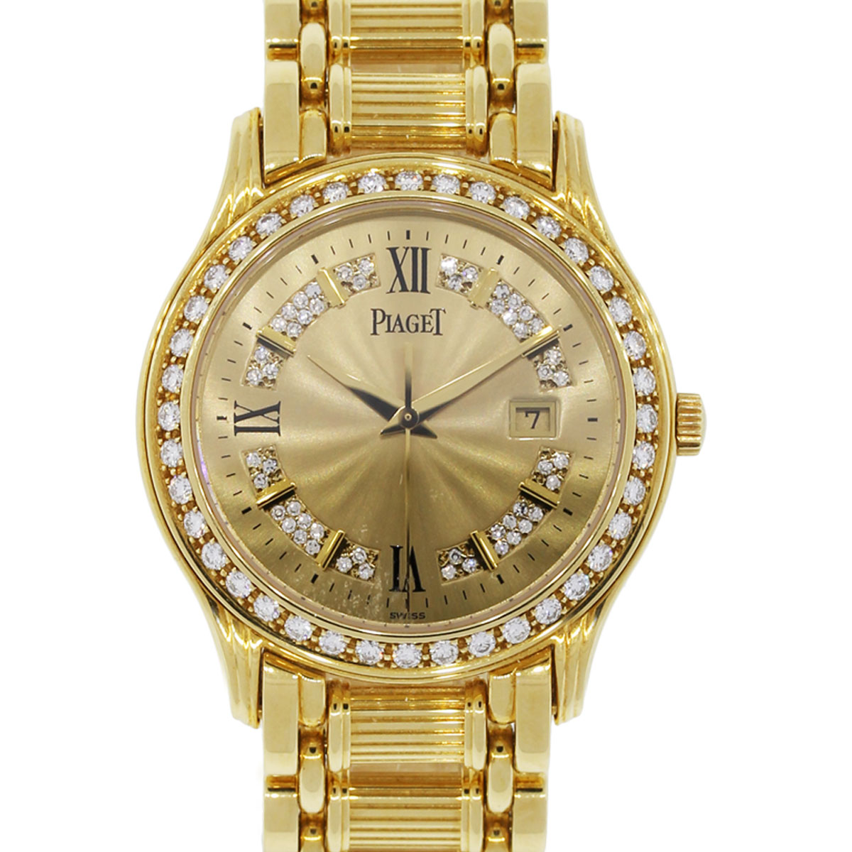 Diamond Watch Piaget Polo 24005 M 501 D 18k Yellow Gold Diamond Watch