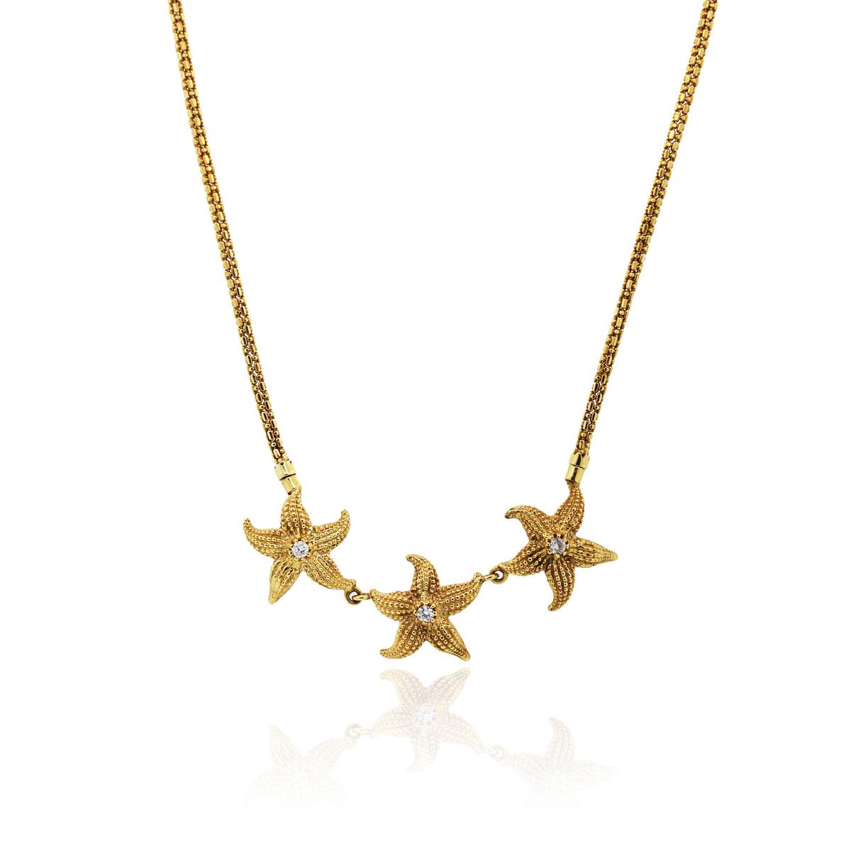 14k Yellow Gold 30ctw Diamond Starfish Necklace