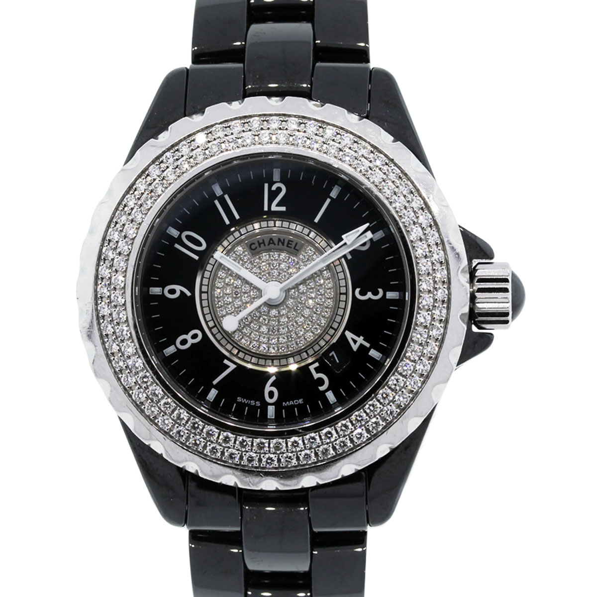 Diamond Watch Chanel H1708 J12 Diamond Bezel Black Dial Ladies Watch
