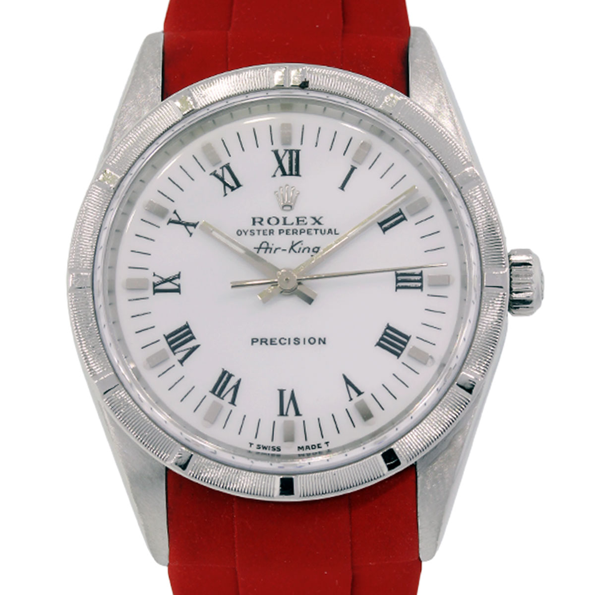Rolex Rubber Rolex 14010 Air King Steel On Red Rubber Strap Watch