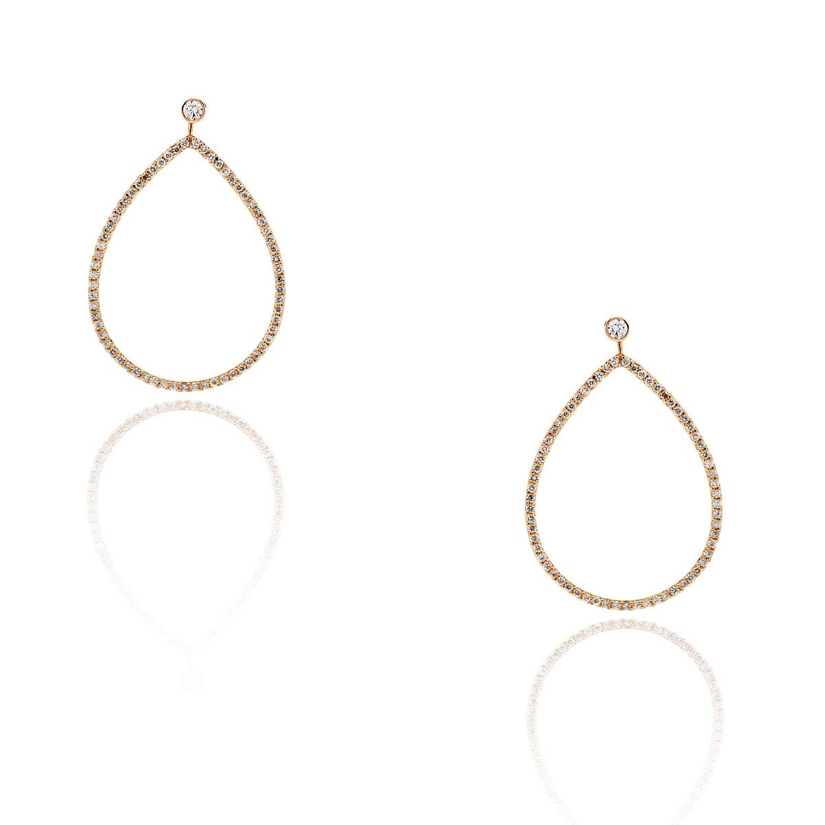 14k Rose Gold 1.03ctw Diamond Dangle Earrings