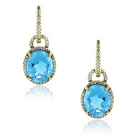 14k Yellow Gold Blue Topaz .50ctw Diamond Dangle Earrings