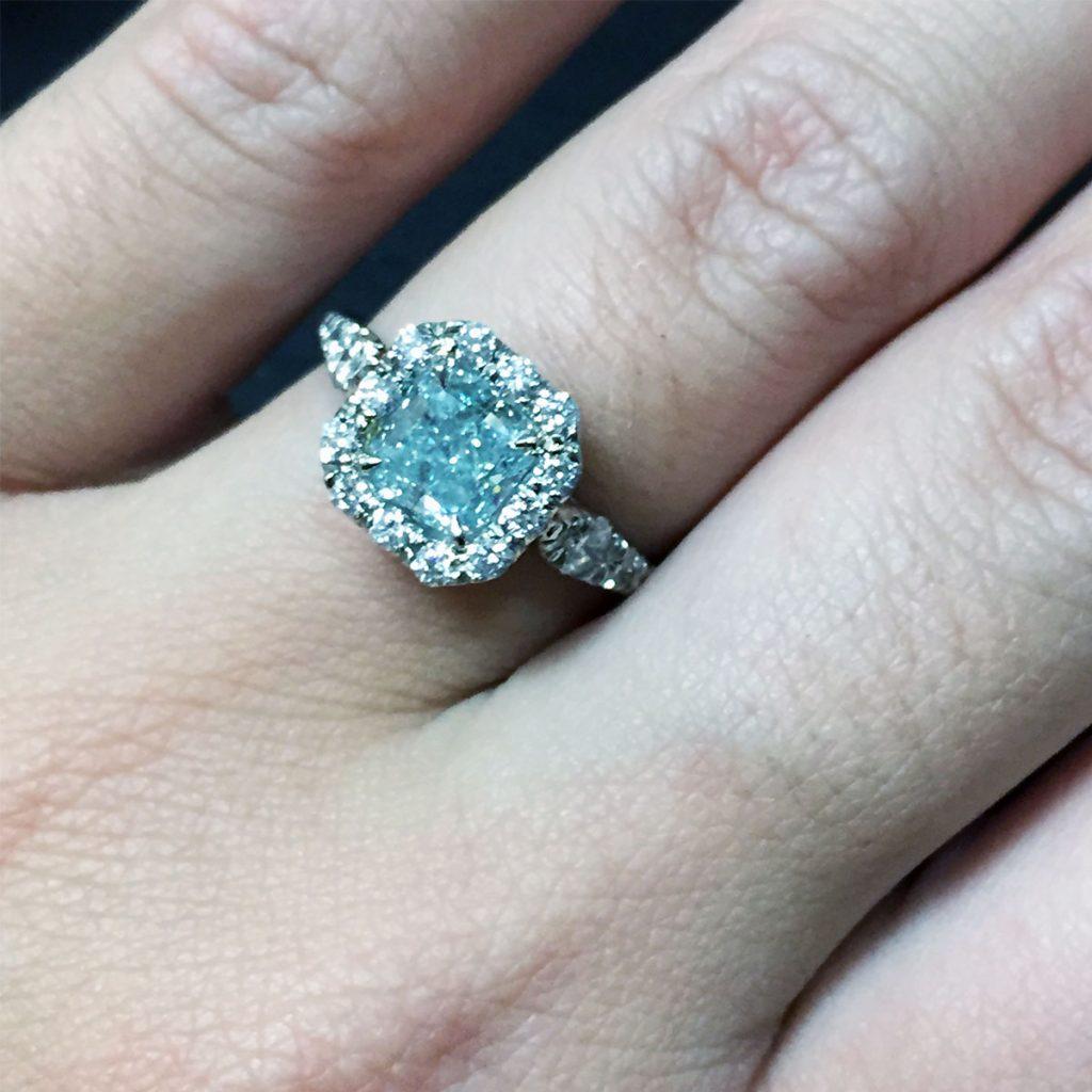 platinum gia certified 1 20ct natural fancy bluegreen cushion cut diamond engagement ring blue wedding rings Platinum GIA Certified 1 20ct Natural Fancy Blue Green Cushion Cut Diamond Engagement Ring