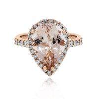 14k Rose Gold Pear Shape Morganite & Diamond Ring