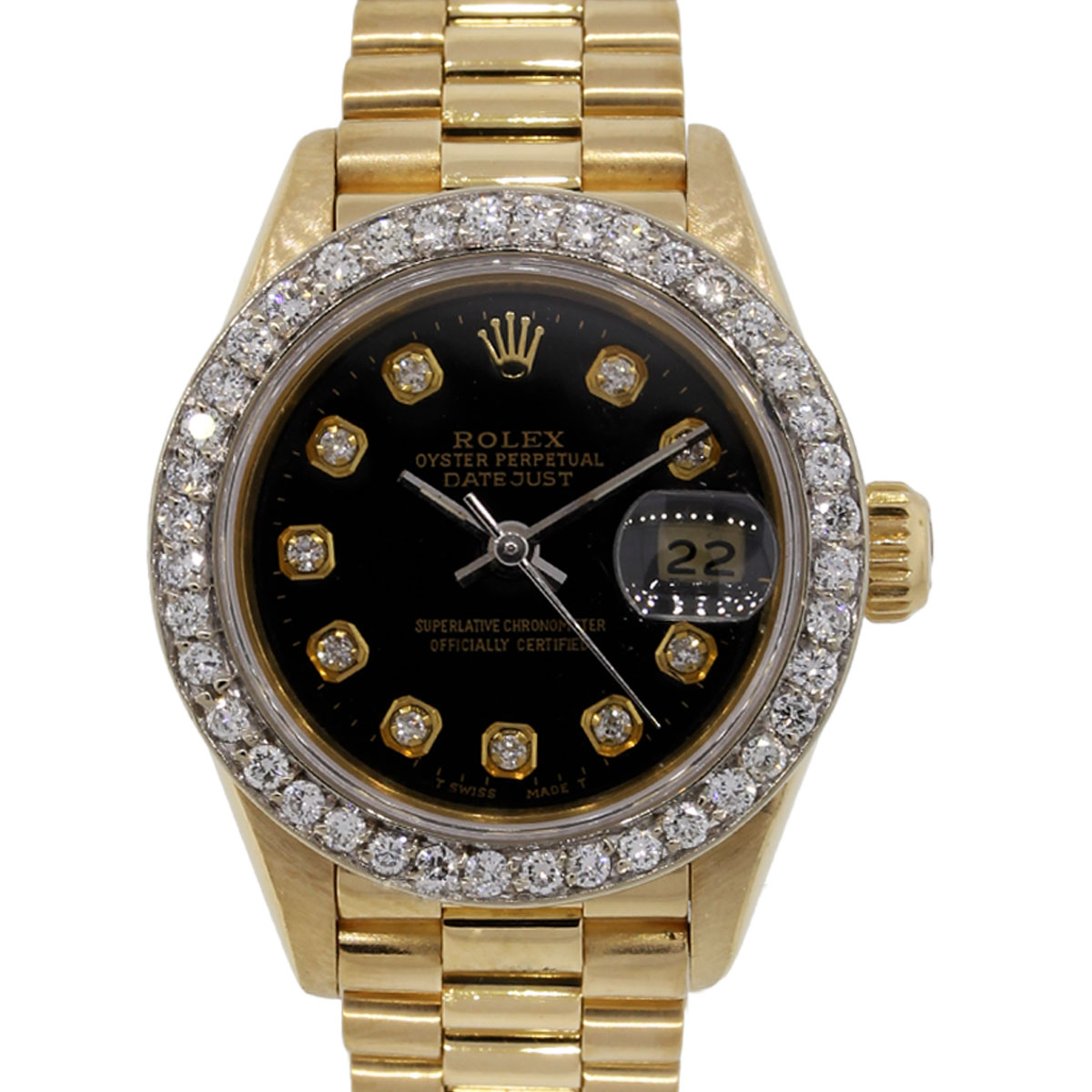 Diamond Watch Rolex 69178 Datejust Ladies 18k Gold Diamond Watch