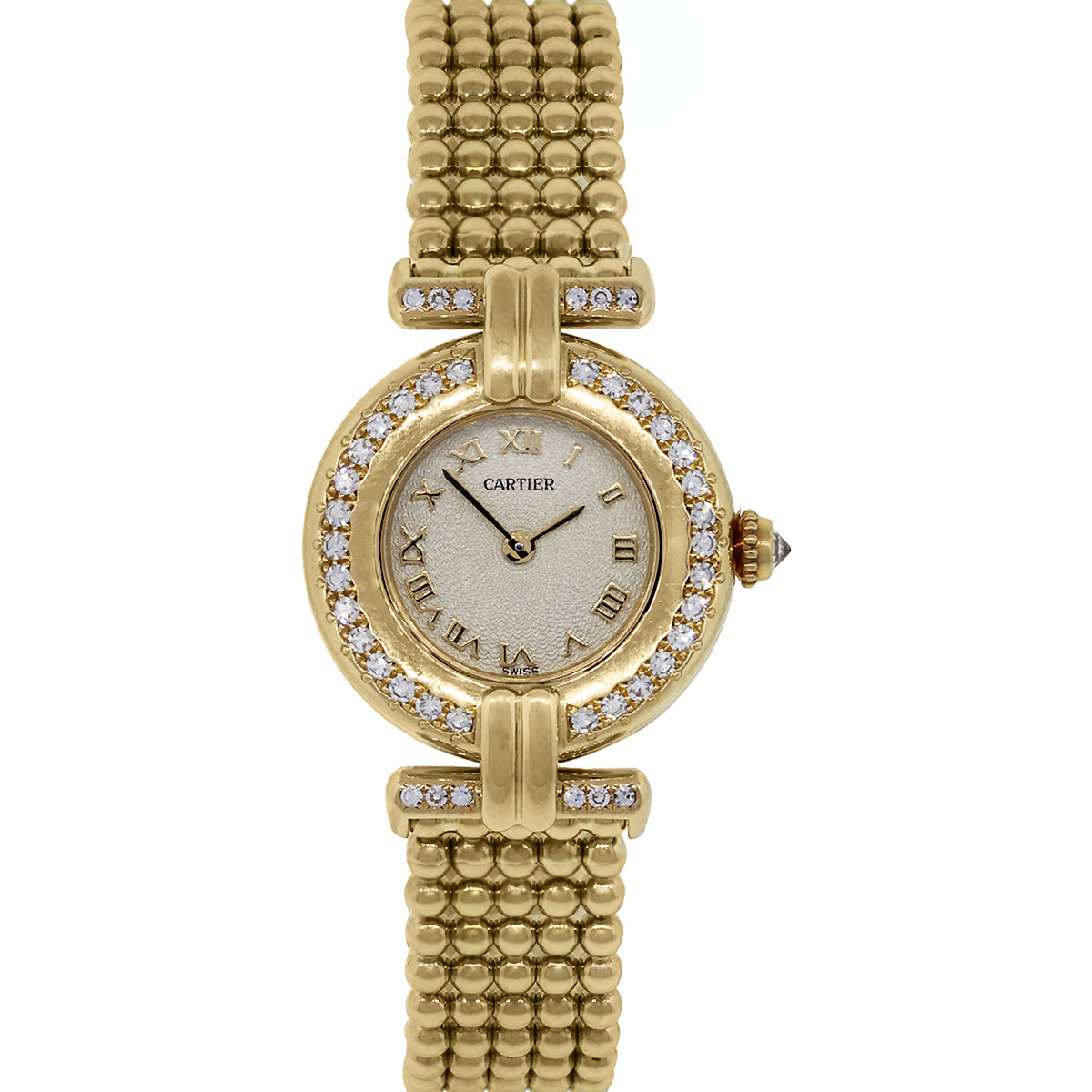 Diamond Watch Cartier Rivoli 18k Yellow Gold Diamond Bezel Ladies Watch