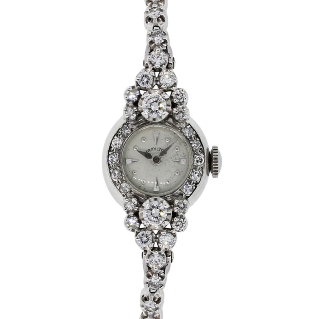 Diamond Watch Hamilton 14k White Gold 2ctw Diamond Antique Ladies Watch