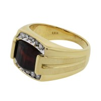 18k Yellow Gold Diamond and Garnet Men's Ring