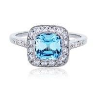 Tiffany & Co. Legacy Platinum Aquamarine and Diamond Ring
