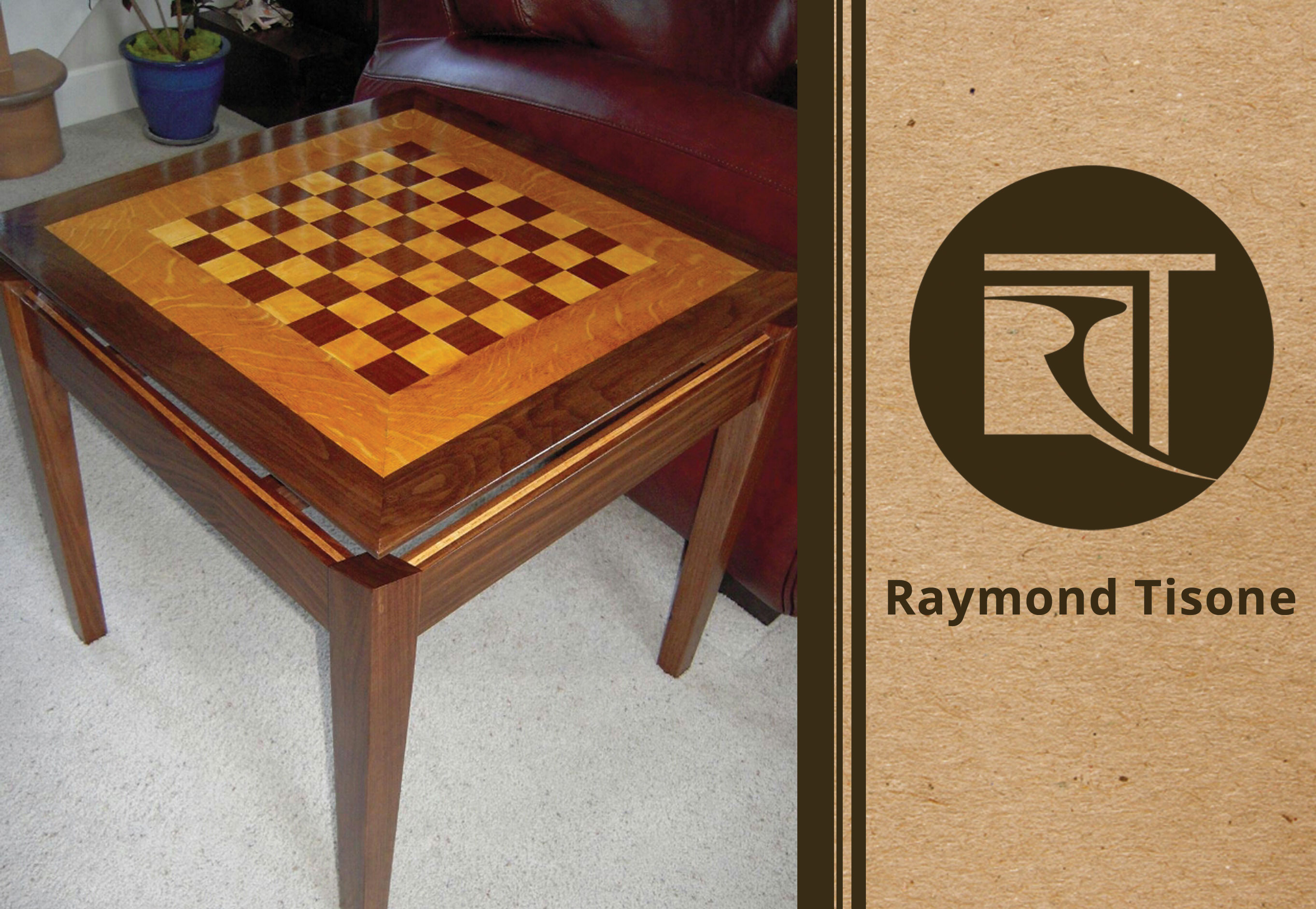 Chess Table Custom Furniture Walnut Wood With Maple Accent Chess Table