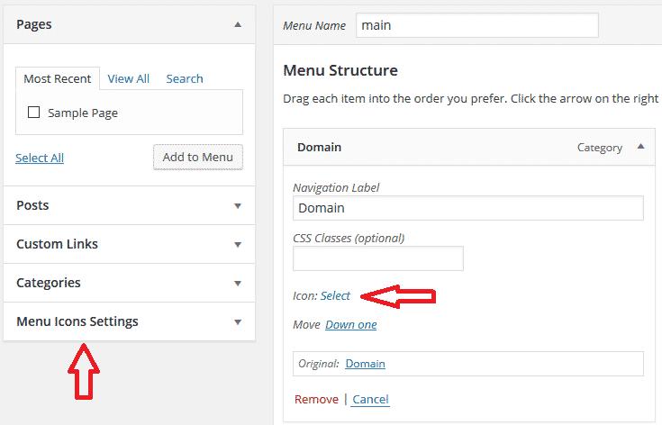 hướng dẫn chèn icon vào menu trong wordpress