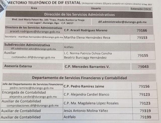 """Mercedes Barrantes, """"La Contadora"""", hermana de la esposa del gobernador Aispuro Torres, aparece en el directorio telefónico del DIF estatal como titular de """"Asesoría Externa"""""""