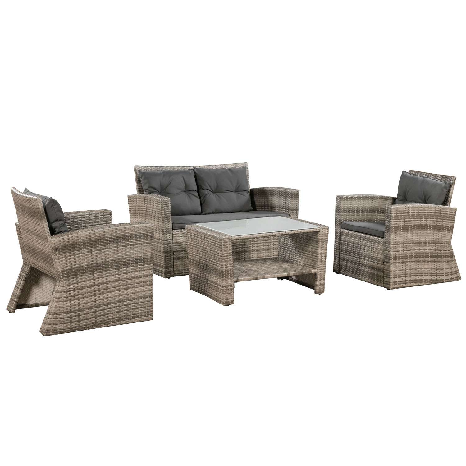 Loungemobel Rattan Amazon Beige Optik Rattan Lounge Set