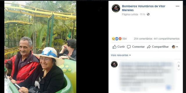 Foto: Bombeiros Voluntários de Vitor Meireles/Facebook