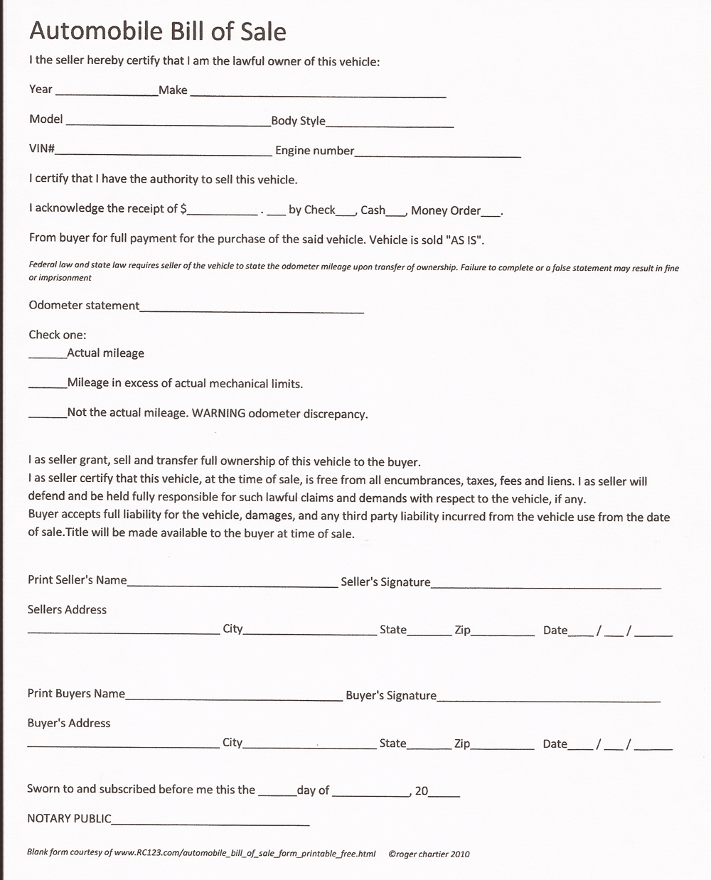 Free California Purchase And Sale Agreement Form Wikiform Bill Of Sale Form Car