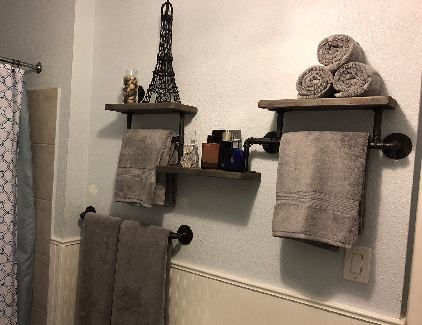 Steampunk Wall Shelves Custom Bathroom Shelving Rcg Designs Steampunk Rustic