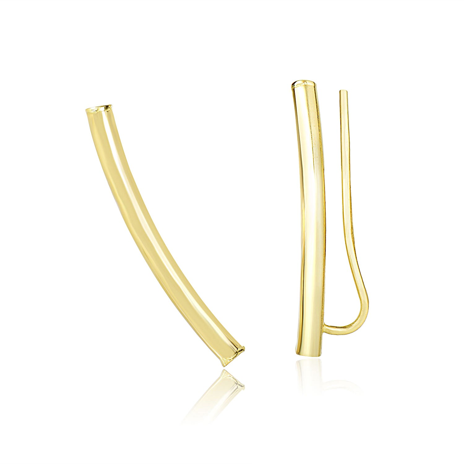 Gold Tube Shiny Curved Tube Earrings In 14k Yellow Gold Richard