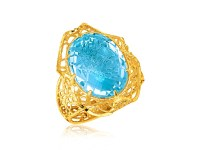Oval Blue Topaz Lace Ring in 14K Yellow Gold - Richard ...