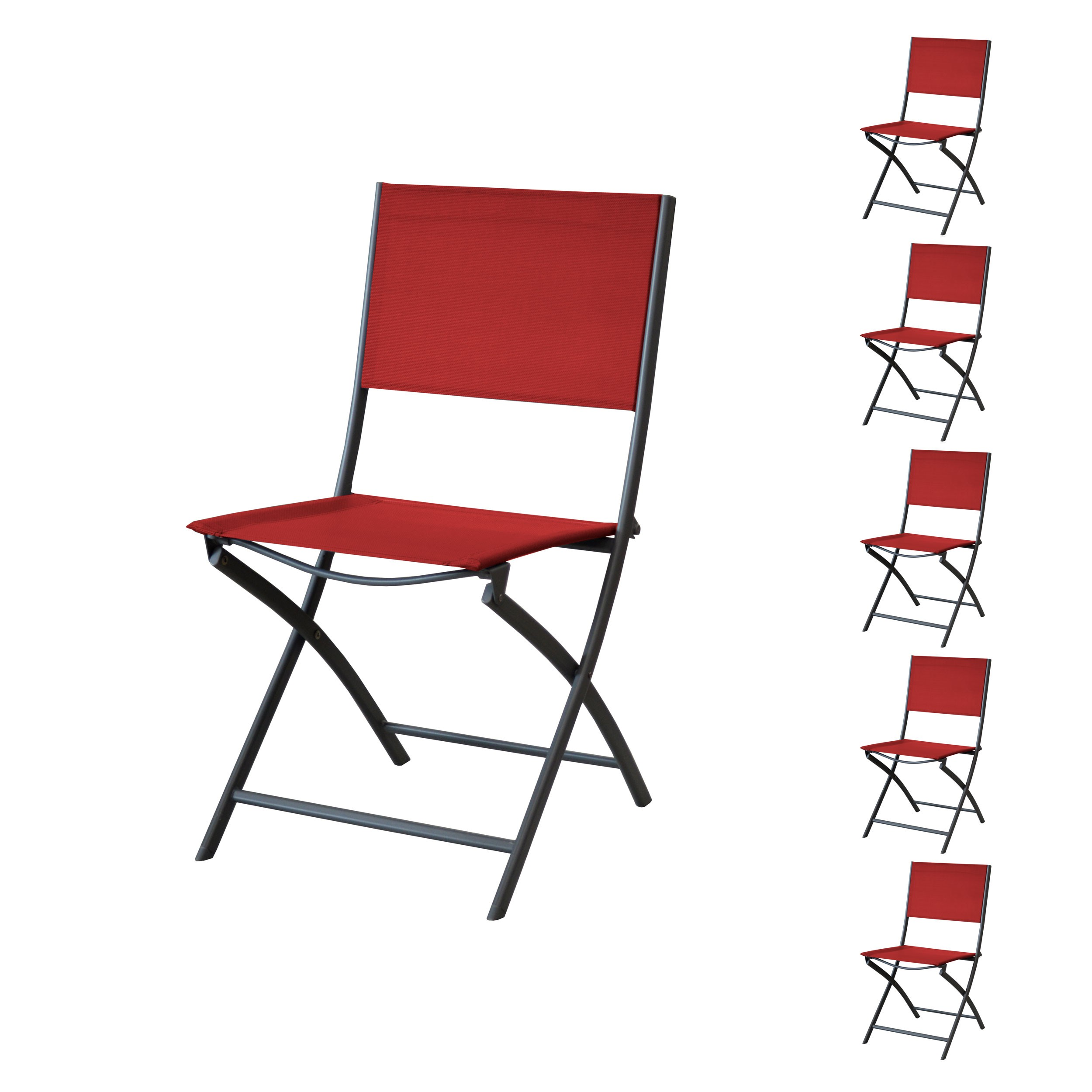 Lot 8 Chaises De Jardin Chaise De Jardin Santos Pliable Rouge Lot De 6