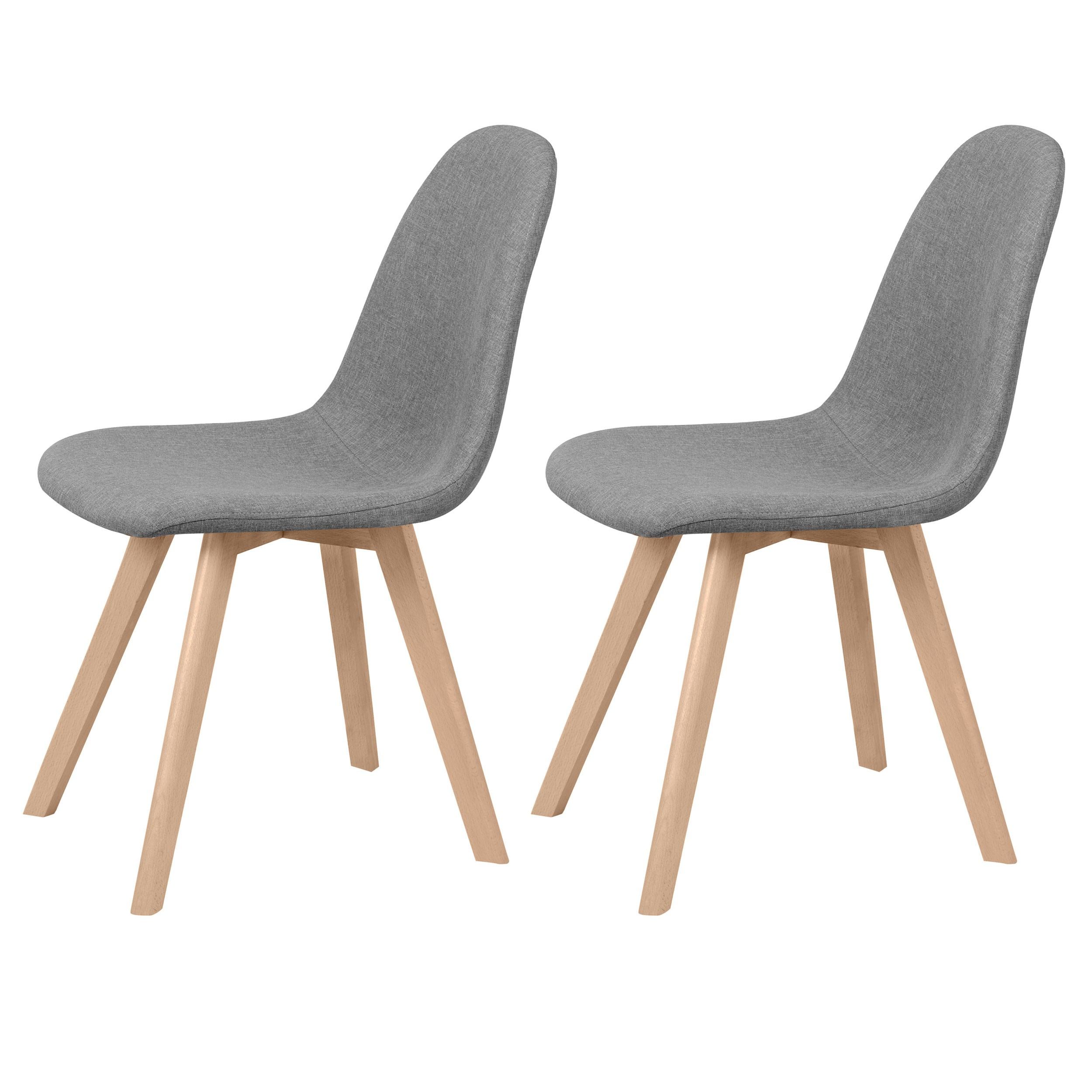 Lot Chaise Scandinave Chaise Skandi Tissu Grise Lot De 2