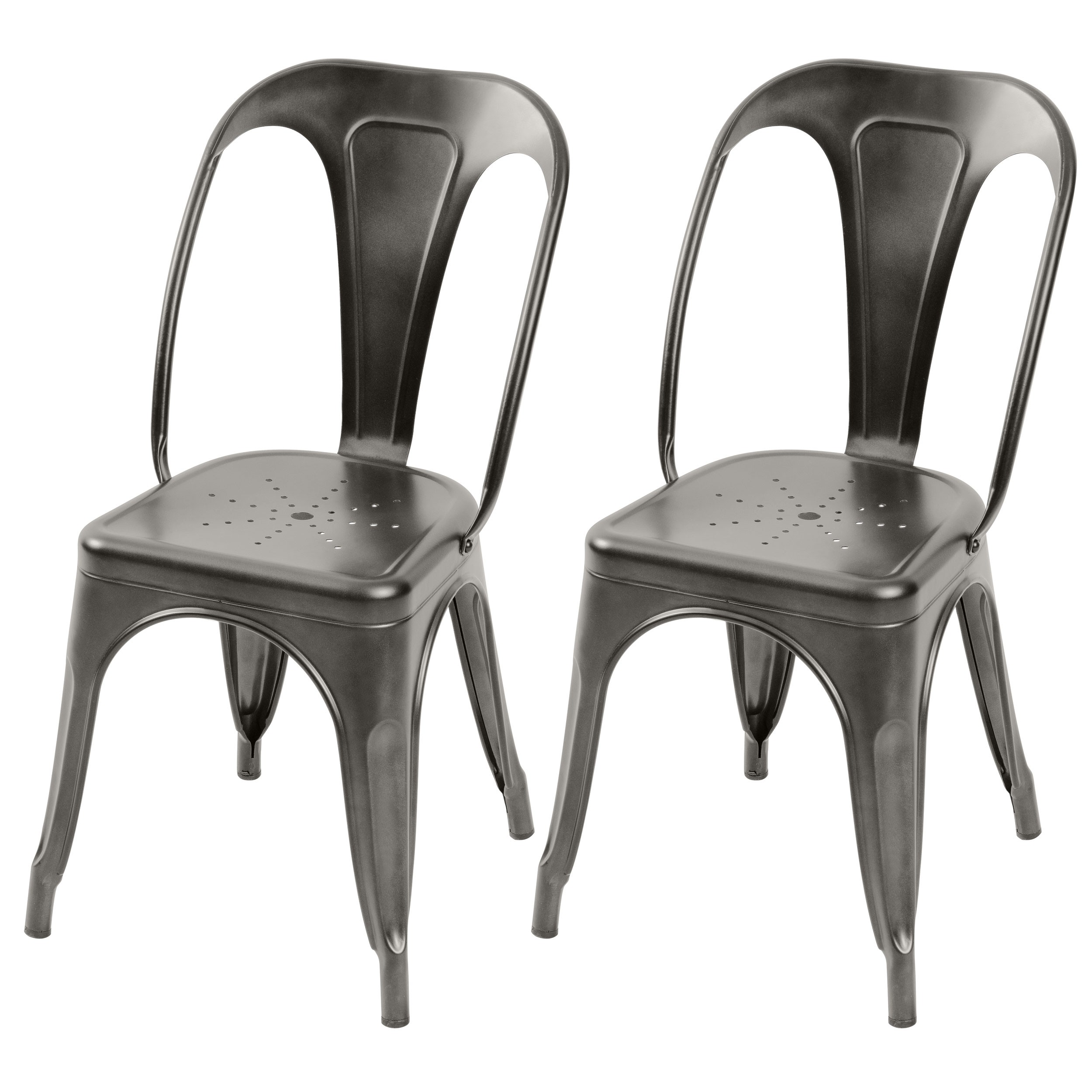 Magasin Chaises Industrielles Chaise Indus Gris Anthracite Lot De 2