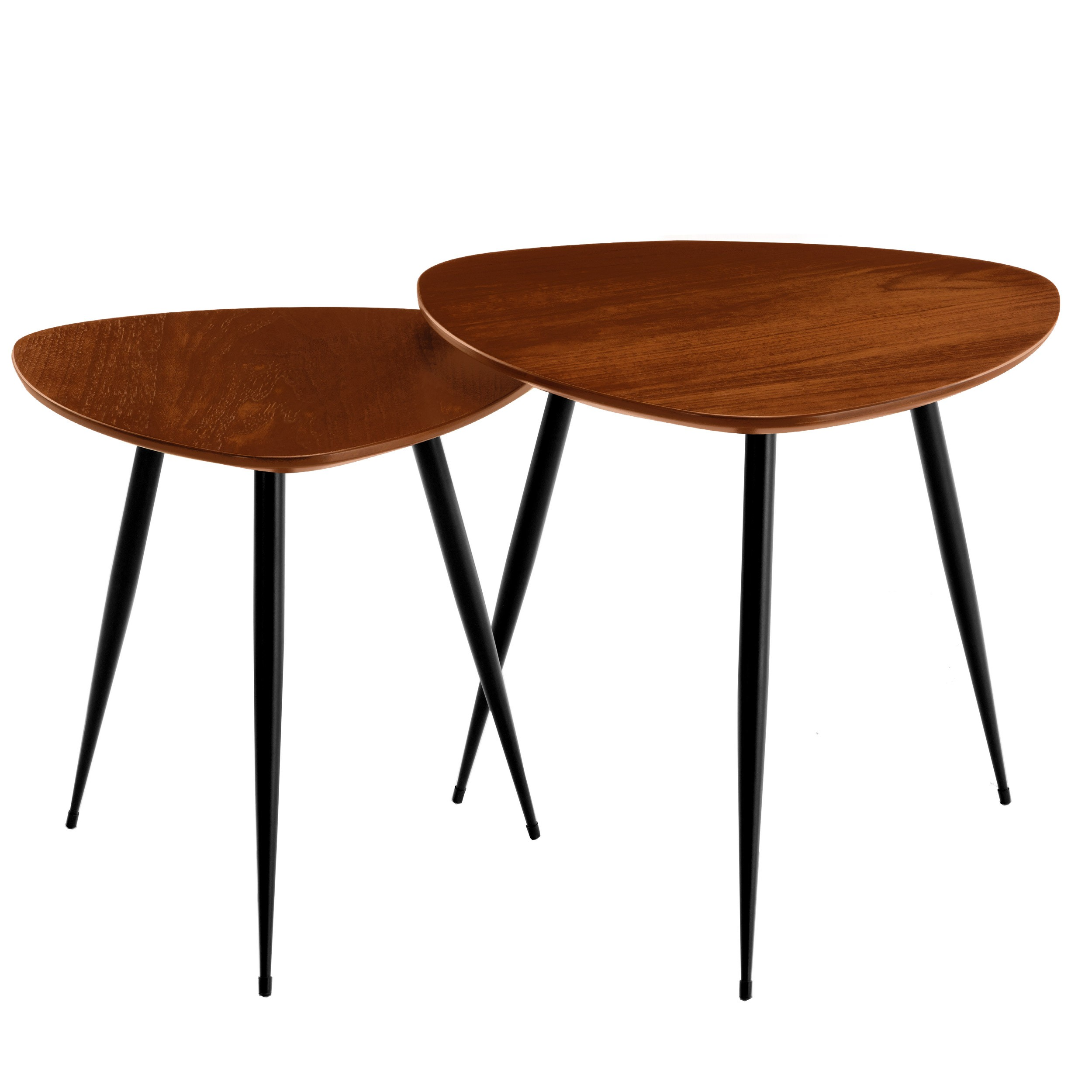 Table Salon Gigogne Tables Basses Scandinaves Bois Foncé Quercus Lot De 2